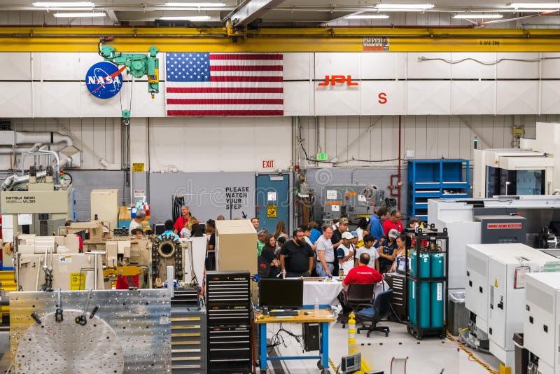 JPL-bezoek bij het `-kaartje van het opendeurdag` jaarlijkse evenement ` A om JPL ` te onderzoeken stock afbeelding