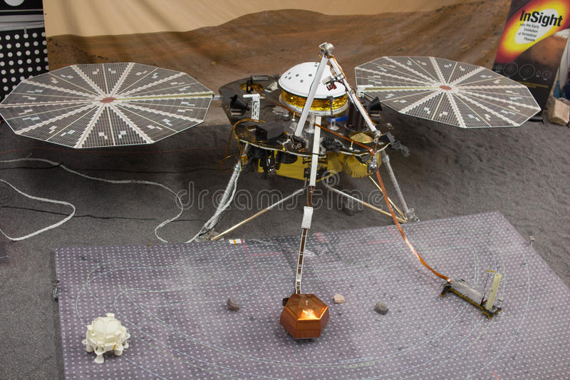 JPL Open House. PASADENA, CA - OCT 12: InSight Mars lander at Jet Propulsion Laboratory's annual Open House on Oct 12, 2014 in Pasadena. It will detect seismic royalty free stock image