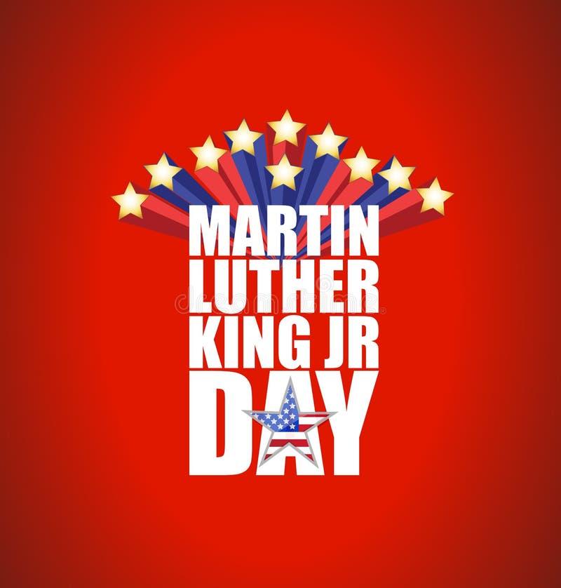 JR de Martin Luther King signe de jour avec des étoiles illustration libre de droits