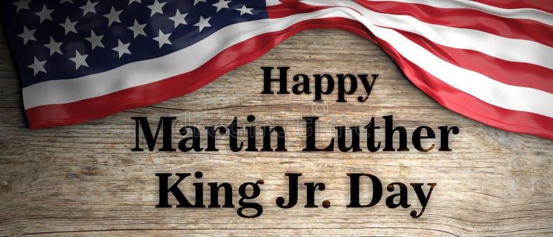 JR heureux jour de Martin Luther King Drapeau et texte des Etats-Unis sur le fond en bois illustration 3D illustration stock