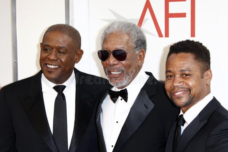JR. Kuba-Gooding, Wald Whitaker, Morgan Freeman stockbilder