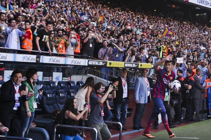 JR presentación oficial de Neymar como jugador del FC Barcelona imagenes de archivo