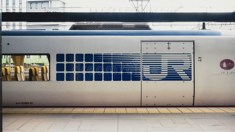 JR wzór na pociągu w Japonia fotografia royalty free