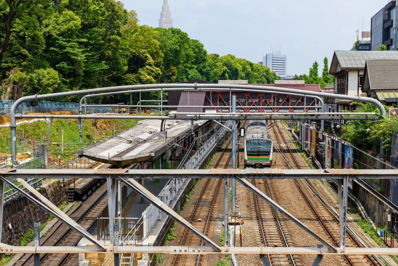 JRdrev av den Yamanote linjen till Harajuku royaltyfri foto