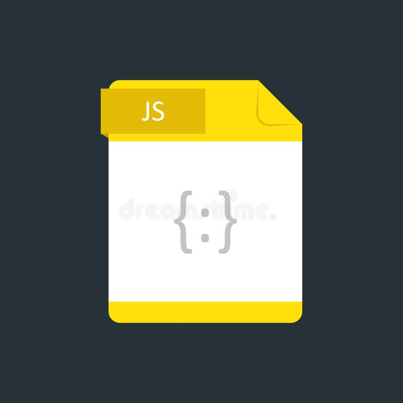 JS file type icon. Vector illustration isolated on a dark blue background.  vector illustration