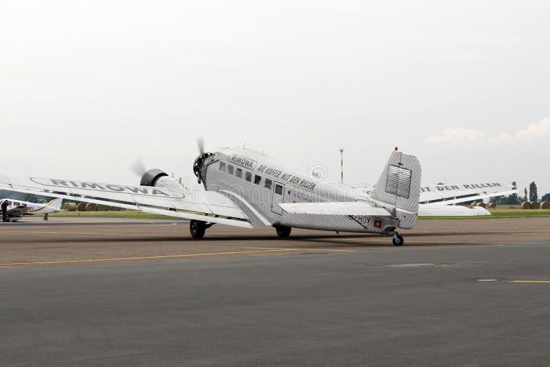 Ju 52 am Flughafen Essen-Muelheim stockbild