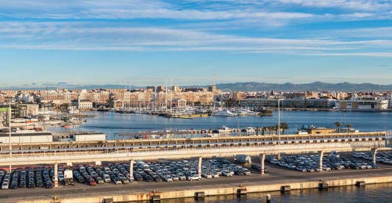 Juan Carlos 1 marina i Valencia Spain royaltyfri fotografi