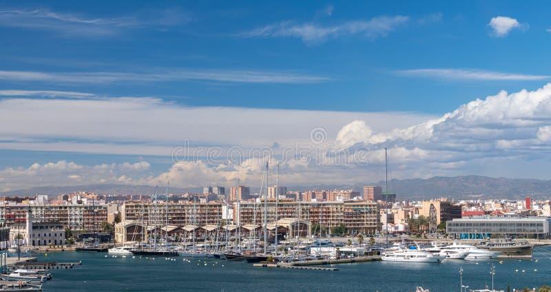 Juan Carlos 1 marina i Valencia Spain royaltyfria foton