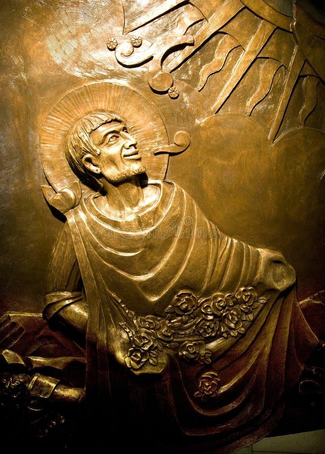 Juan Diego Guadalupe van de Hulp van het brons Heiligdom Mexico royalty-vrije stock foto