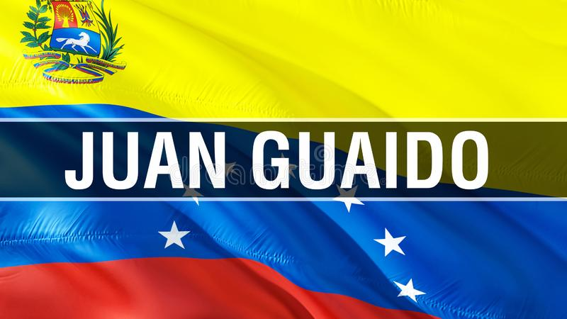 Juan Guaido on Venezuela flag. 3D Waving flag design. The national symbol of Venezuela, 3D rendering. National colors and National. South America flag of royalty free stock photo