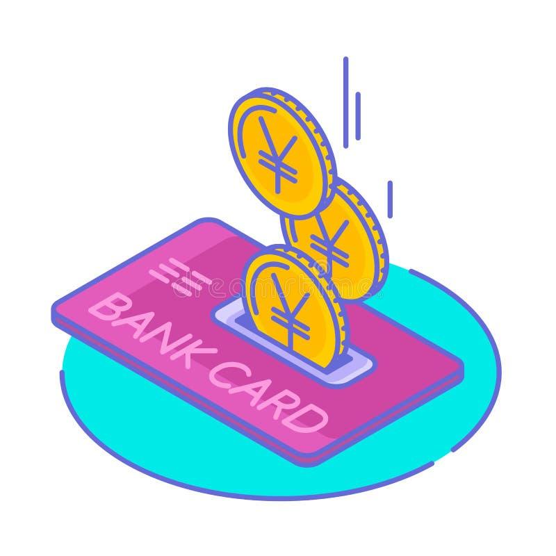 Juan monety droping w kartę kredytową i jen ilustracja wektor