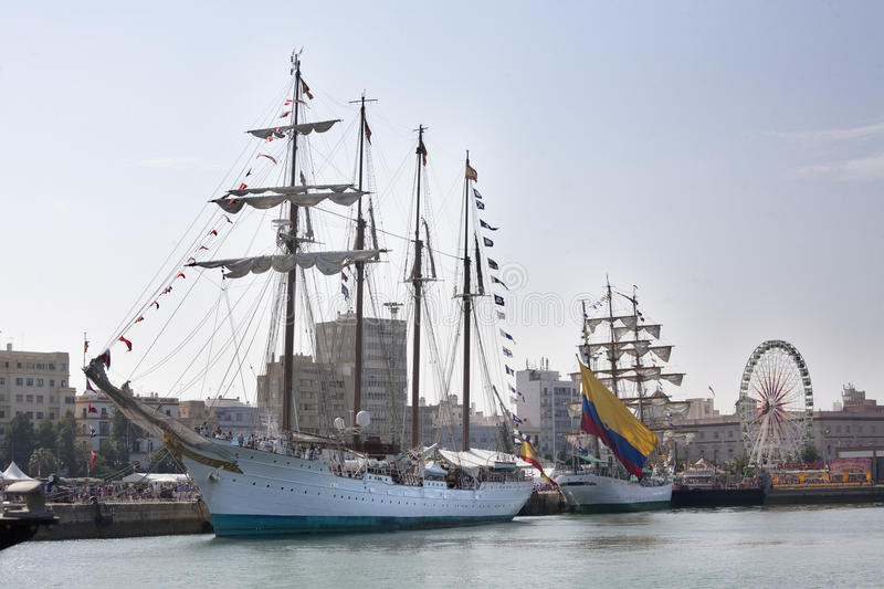 Juan Sebastian Elcano. Great Regatta Cadiz, with 50 of the world's largest sailing royalty free stock photo