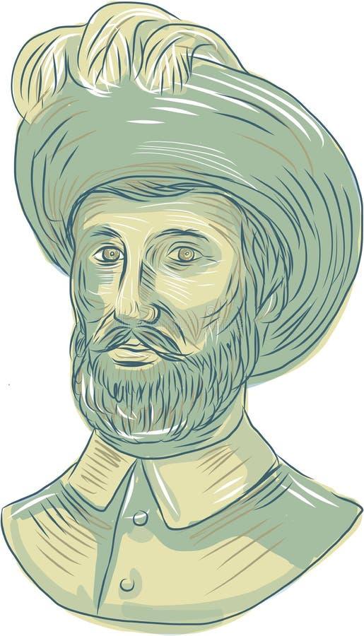 Juan Sebastian Elcano Bust Drawing ilustração stock