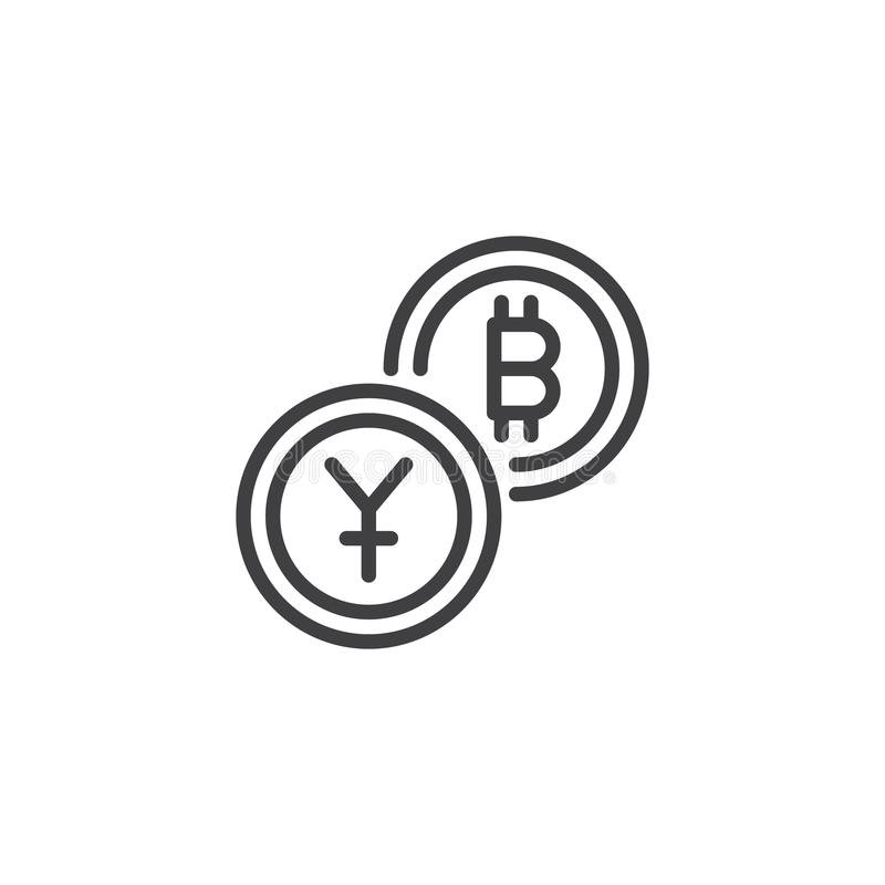 Juan wymiana Bitcoin konturu ikona ilustracja wektor