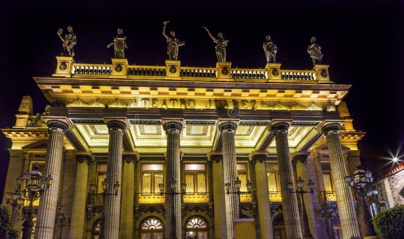 Juarez teaterstatyer Guanajuato Mexico royaltyfria bilder