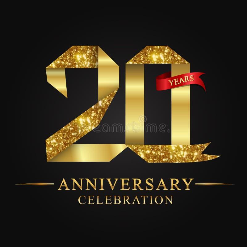 20. Jubiläumsjahrfeierfirmenzeichen Logoband-Goldzahl und rotes Band auf schwarzem Hintergrund vektor abbildung