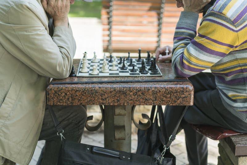 Jubilados activos, viejos amigos y tiempo libre, dos mayores que se divierten y que juegan al juego de ajedrez en el parque Los v foto de archivo libre de regalías