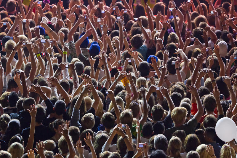 Download Jubilant people stock photo. Image of public, hand, night - 17929786