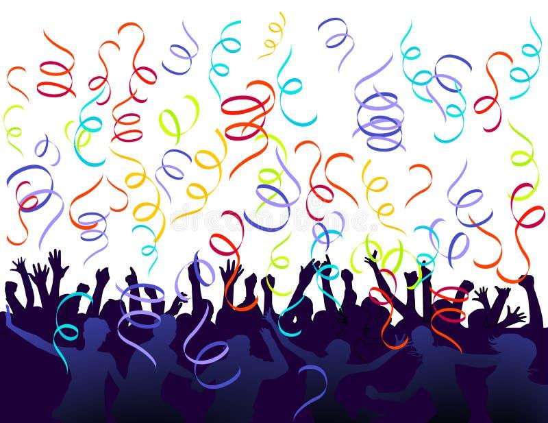 Jubilation and confetti royalty free illustration
