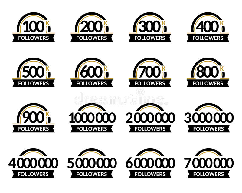 Jubilee for celebration. Number of followers, vector set of signs in a round frame with ribbon. Accurate design in black. And gold colors royalty free illustration