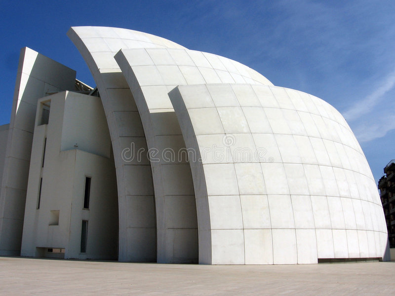 Jubilee Church. The Jubilee Church by Richard Meier in Rome. A new modernist approach to religious architecture referring back to the semiotics of sailing stock photo