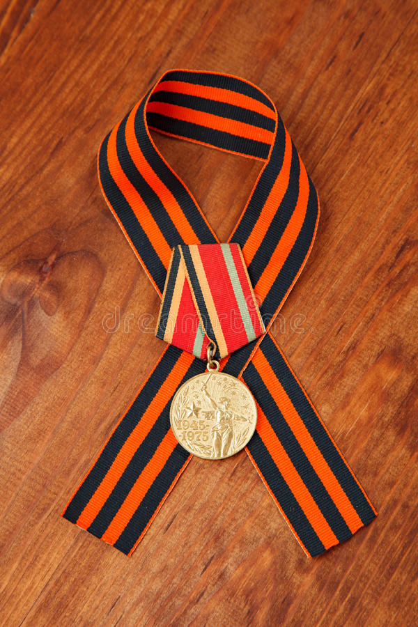 Jubilee medal Thirty Years of Victory in the Great Patriotic War of 1941-1945 and George's Ribbon royalty free stock images
