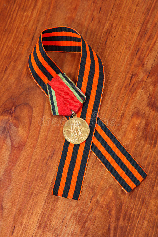 Jubilee medal 20 of Victory in the Great Patriotic War of 1941-1945 and George's Ribbon royalty free stock photo