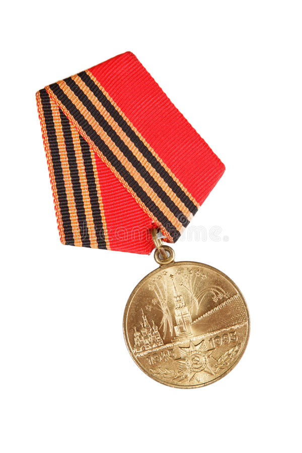 Jubilee Medal 50 Years of Victory in Great Patriotic War. isolated on white. illustrative editorial. royalty free stock photo