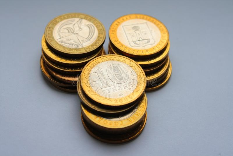 Jubilee russian ten roubles stock images