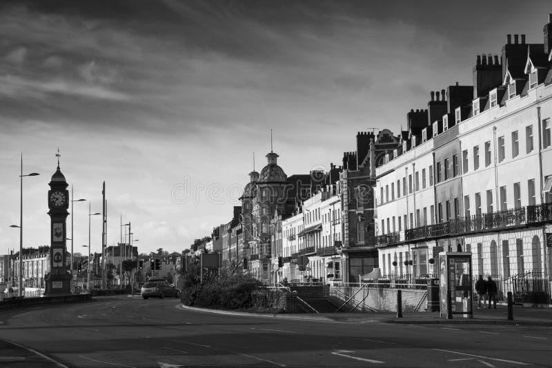 Jubileumklockan på den Weymouth sjösidan Klockan restes upp i 1887 för att markera 50na arkivbild