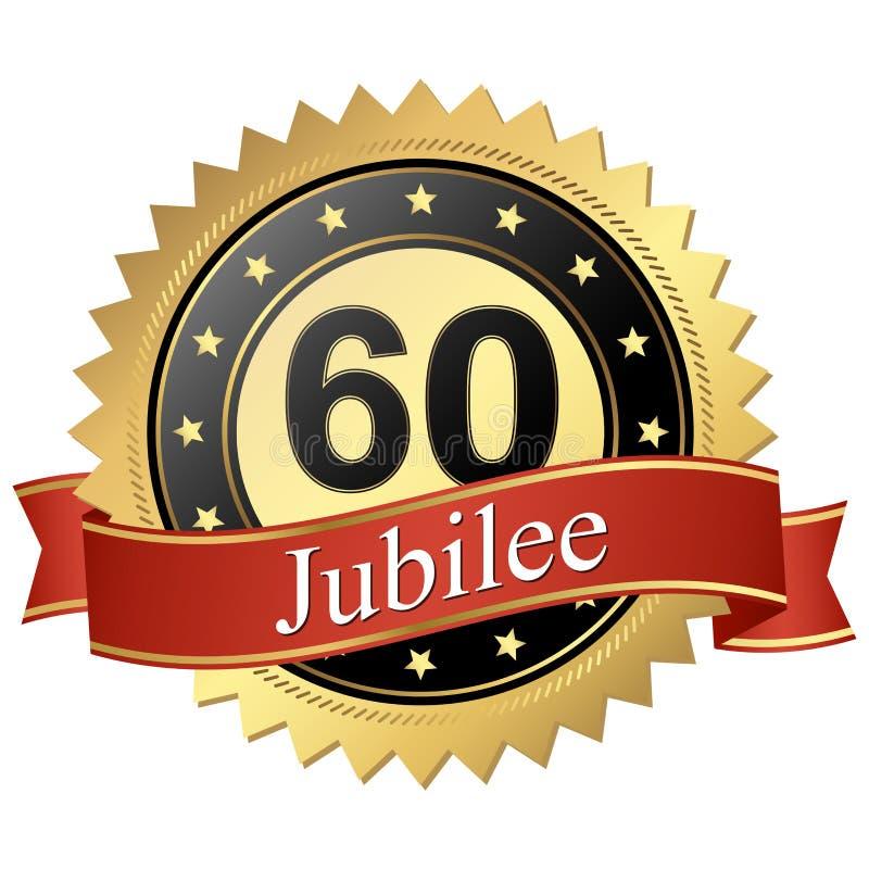 Jubileumknapp med baner - 60 år royaltyfri illustrationer