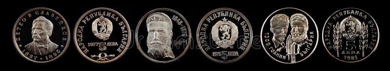Jubileums- myntlev från Bulgarien royaltyfri fotografi