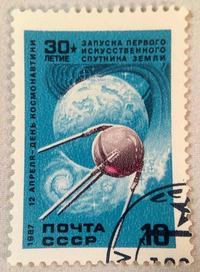 Jubileums- stämpel av sputniken royaltyfri fotografi