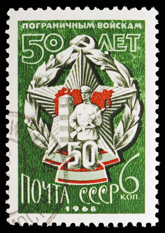 Jubileuszowa odznaka, 50th rocznica Radziecki kresy strażnika seria około 1968, obraz royalty free