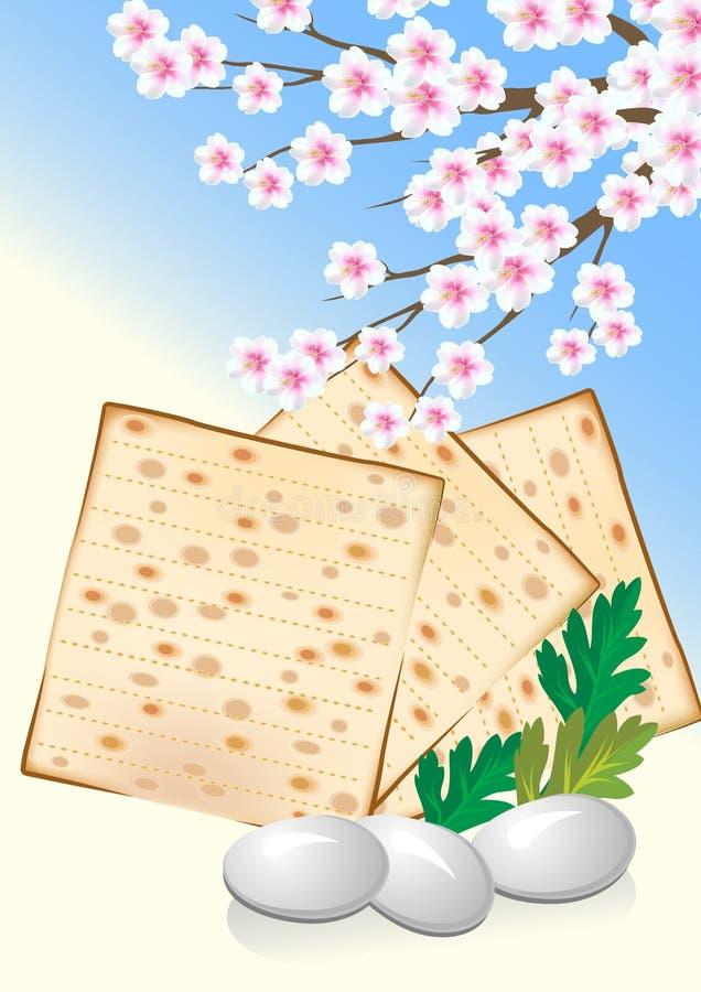 Judío celebre el passover con los huevos, matzo libre illustration