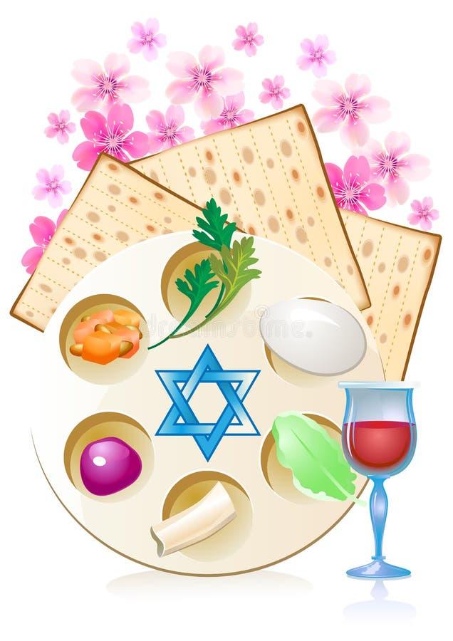 Judío celebre el passover del pesach con los huevos stock de ilustración