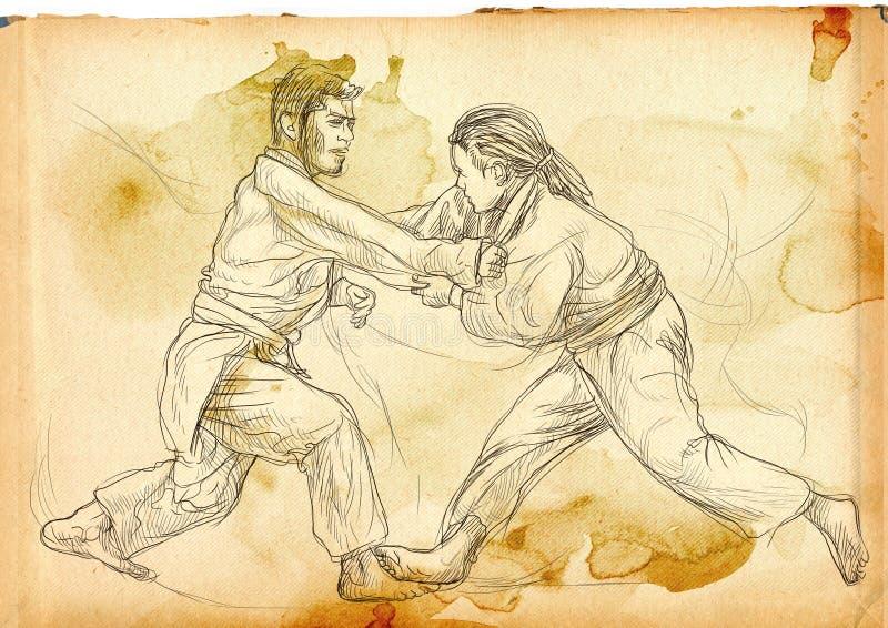 Judô - mão sem redução uma ilustração tirada ilustração do vetor