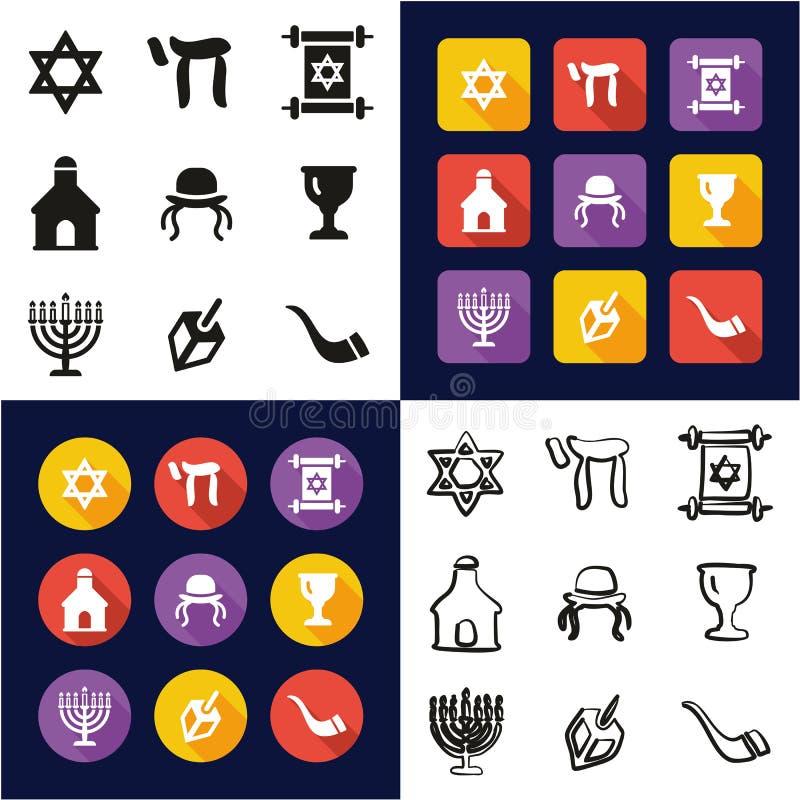 Judaïsme tout dans les icônes une noires et la conception plate de couleur blanche à main levée réglée illustration libre de droits