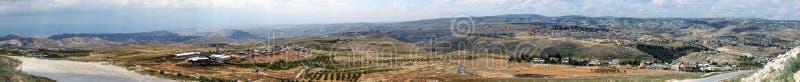 Judaean öken nära till Jerusalem, Israel Panoramautsikt från den Herodium Herodion fästningväggen royaltyfria bilder