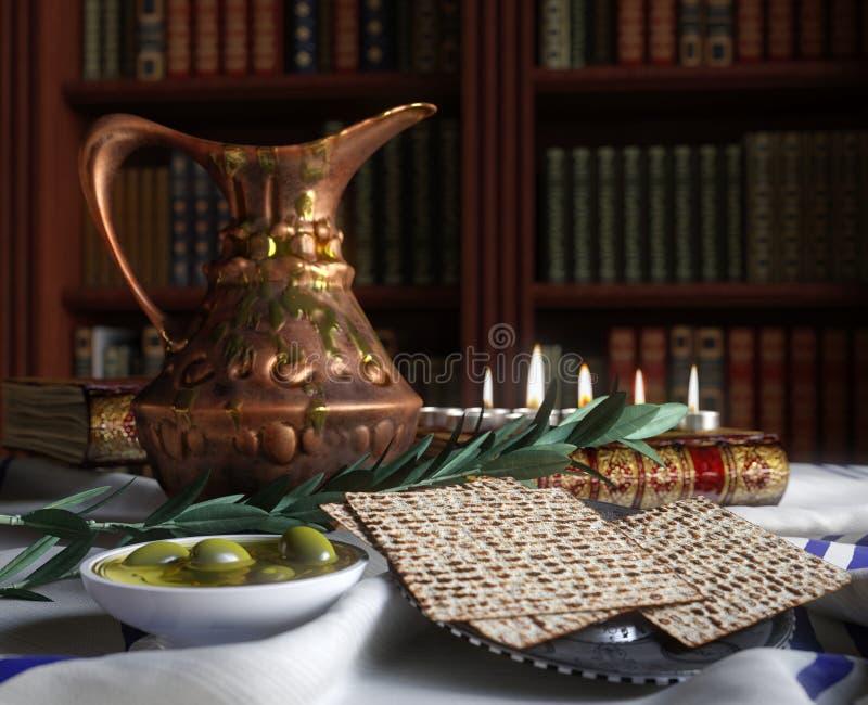 Judaico comemore o passover do pesach com livros, azeitona e jarro foto de stock royalty free