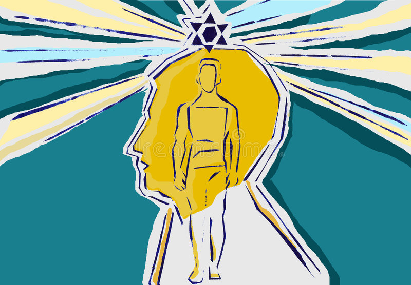 Judaism. The man in head of God stock illustration