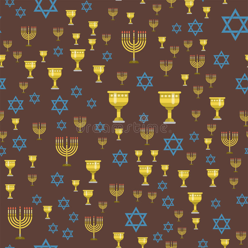 Judaism church traditional seamless pattern hanukkah religious synagogue passover hebrew vector illustration. Judaism church traditional seamless pattern vector illustration
