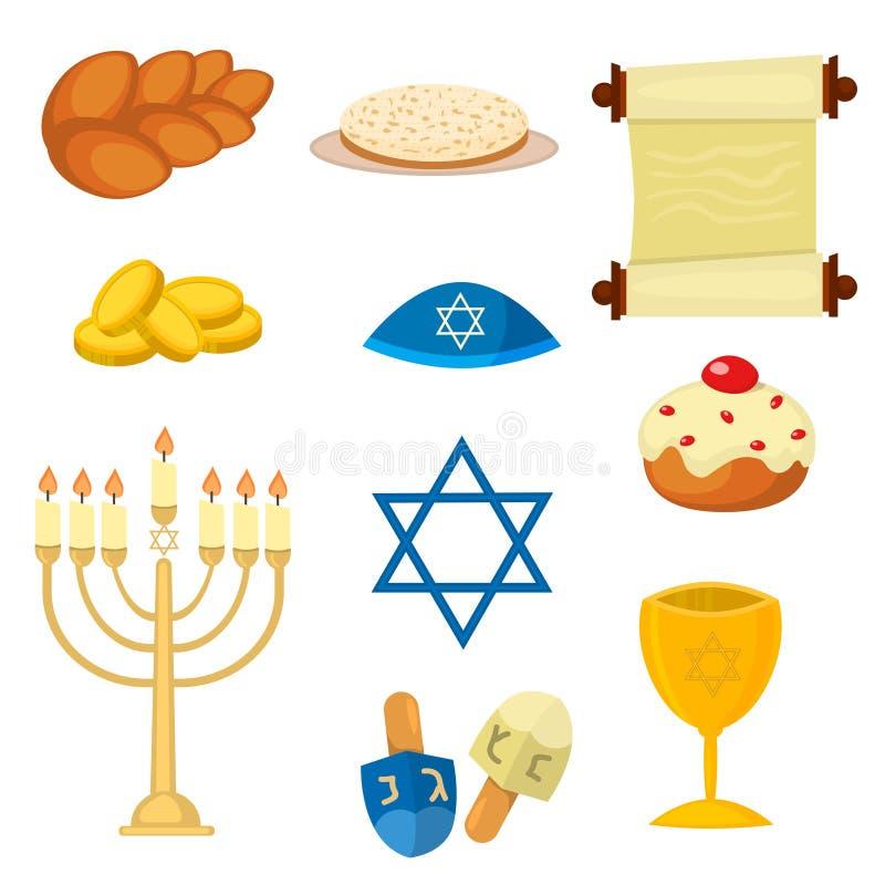 Judaism church traditional symbols icons set isolated vector illustration. Judaism church traditional symbols jewish icons set isolated vector. Various jewish stock illustration