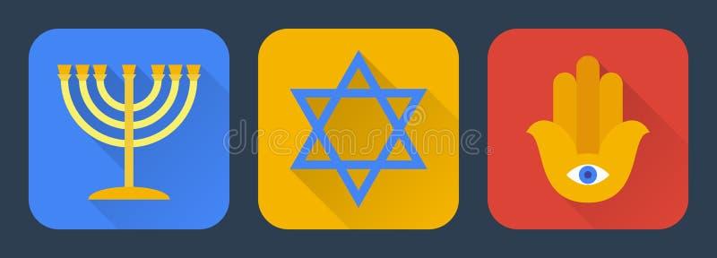 Judaism flat. Set.Vector illustration royalty free illustration