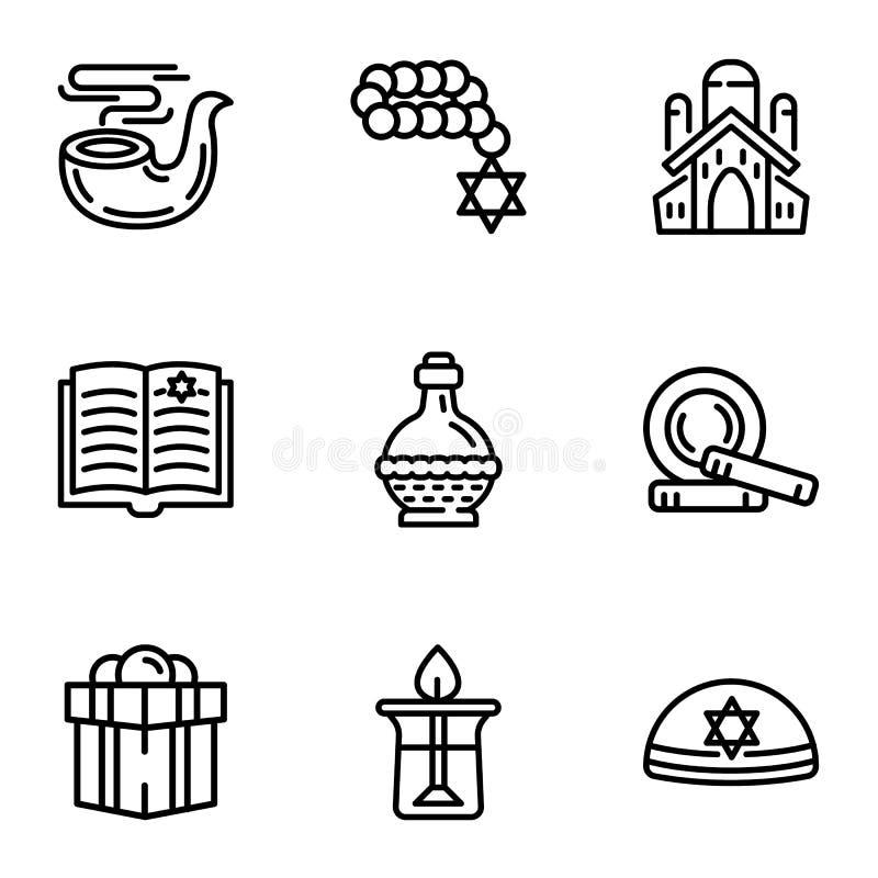 Judaism icon set, outline style. Judaism icon set. Outline set of 9 judaism vector icons for web design isolated on white background stock illustration