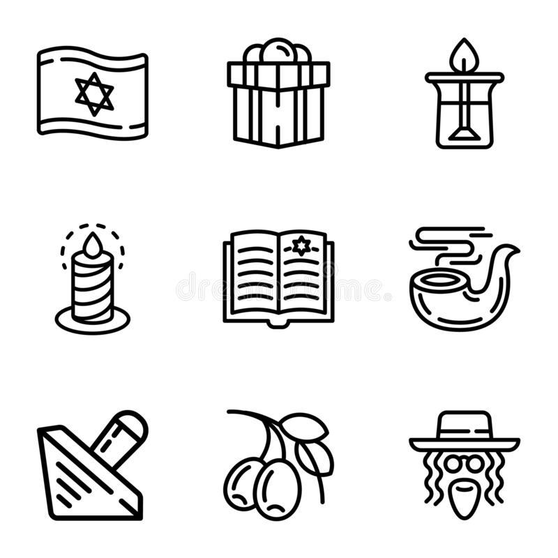 Judaism objects icon set, outline style. Judaism objects icon set. Outline set of 9 judaism objects vector icons for web design isolated on white background royalty free illustration