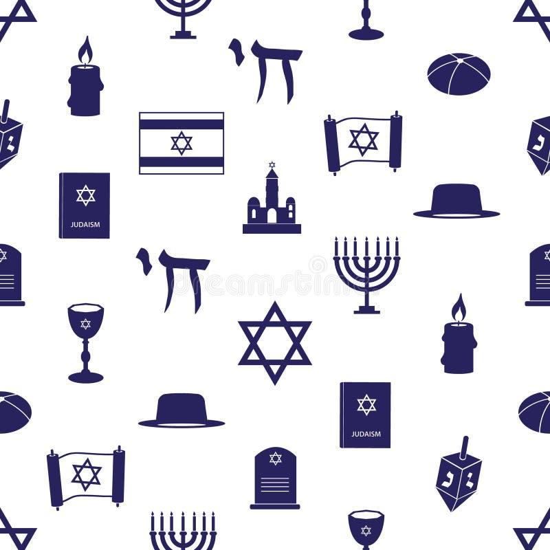 Judaism religion symbols seamless blue pattern eps10. Judaism religion symbols seamless blue pattern stock illustration