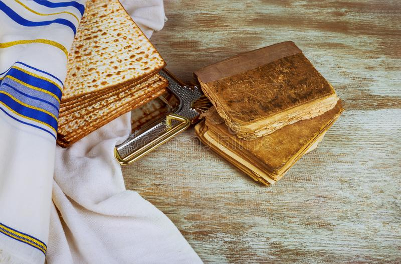 Judaism and religious torah on jewish matza on passover tallit. Prayer holiday unleavened bread seder celebration religion kosher matzo symbol matzah pesach stock image