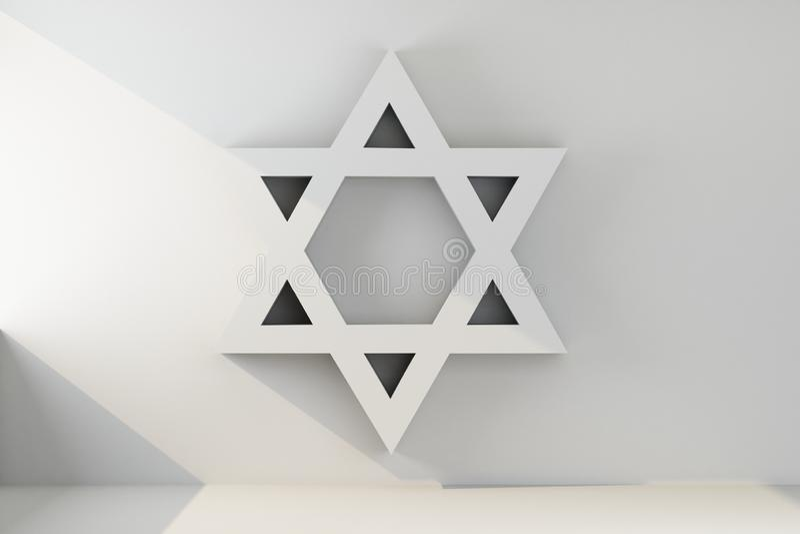 Judaism symbol on gray wall. 3d rendering stock illustration