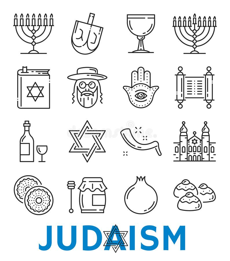 Vector Judaism Religious Symbols Thin Line Icons Stock Vector
